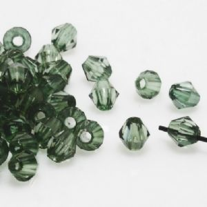 Beads, Imitation Crystal beads, Acrylic, Dark green, Faceted Bicones, Diameter 4mm, 2g, 100 Beads, (SLZ0410)